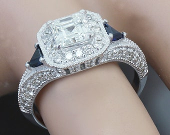 18k White Gold Asscher Cut Diamond Engagement Deco Halo Ring 1.75ctw I-VS2 EGL USA