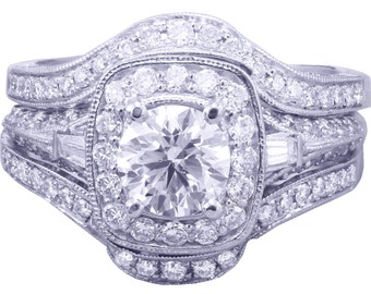 14k White Gold Round Cut Diamond Engagement Ring And Bands Halo Filigree 2.50ctw H-SI1 EGL USA