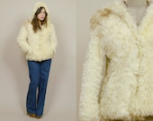 70s Fur Jacket Curly Shaggy Mongolian Lamb HOODED Boho Hippie Cream Brown 1970s Glam Rock Shearling / Size S Small