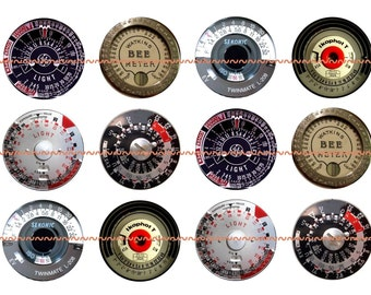 Steampunk Magnets, Steampunk Pins, Steampunk Light Meters, Vintage Light Meters, Fridge Magnets, Party Favors