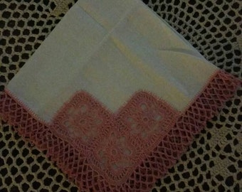 Beautiful never used vintage hankie with rose colored crocheted edging, wedding, something old
