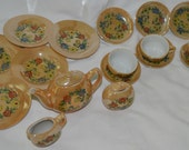 Vintage Lusterware Children's China Tea Set, Made in Japan