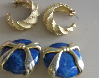 Gold Tone Earrings Vintage Lot 4 pairs Destash Jewelry