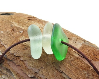 Big Sea Glass hand drilled 3 pcs-Sea glass beads- Center drilled beach glass- Organic pebbles Jewelry Supplies