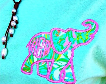 Preppy Lilly Pulitzer Elephant Fabric Monogrammed Short sleeve tshirt pocket Tee Greek Sorority Graduation Gift Bridesmaid Gift Plus Size