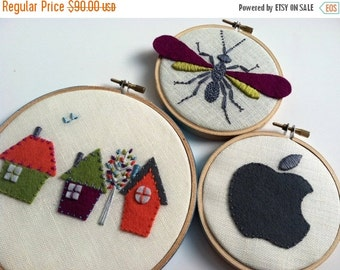 On Sale Hand Embroidery, pure wool felt, hoop art, house, wasp, apple, home decor, housewarming gift, children's room, hand embroidered by m