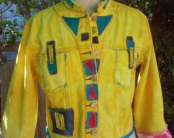 Sporty Yellow Bolero Jacket Denim Redoo repurposed denim hand dyed Size S/M