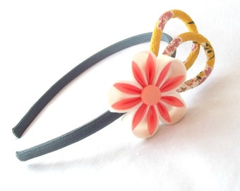 Fun Colorful Flower Headband with Yellow Chirimen Crepe Cord Loops Statement Headpiece