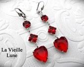 Ruby Heart Earrings, Drop Earrings, Victorian Earrings, Victorian Jewelry, Red Jewel Earrings, Heart Dangle Earrings, Victorian Jewelry