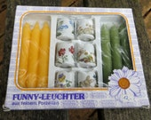 Funny Designs Unopened Package of Tiny Candle Holders and Candles Flowers and Bunnies West Germany