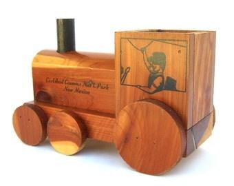 Vintage Wooden Toy Train, Carlsbad Caverns National Park New Mexico Souvenir, Pencil Holder, Boys Room Desk Accessory