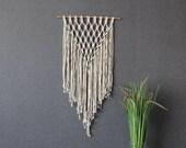 Macrame wall decor - Cotton- Bohemian macrame wall hanging - Handmade - Wall Art - Boho Macrame home decor - Ivory - Black White