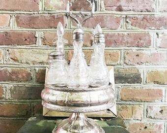 SALE Antique Victorian Era Silver Plated Tiffany & Co Cruet Stand