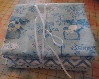 Fabric Bundle 3 Yards-Little Bear Blue Flannel Fabric-Baby Quilt Starter