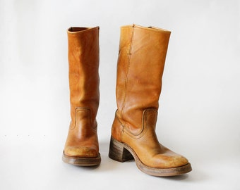 Campus Boots 8 1/2 • Tan Orange Boots 9 • 70s Tall Leather Boots • Wooden Heel Boots    SH215