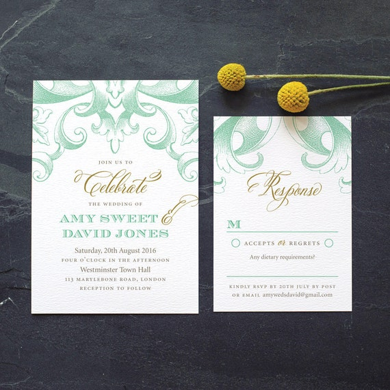 Vintage Wedding Invitation / 'Victorian' Calligraphy Elegant Lace Wedding Invite / Mint Gold Grey / Custom Colours Available / ONE SAMPLE