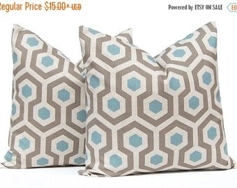Sale Brown Pillow Covers, Decorative Pillow Cover, Throw Pillow Cover, Pillows, Toss Pillow, Accent Pillow One Taupe Blue Honeycomb