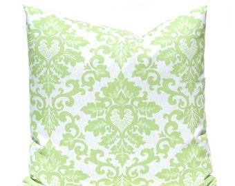 SALE Kiwi Green Pillows, Damask Pillow Covers, Decorative Throw Pillow Covers, Green Cushion Covers, Kiwi Green Accent Pillow, Polka Dots Da