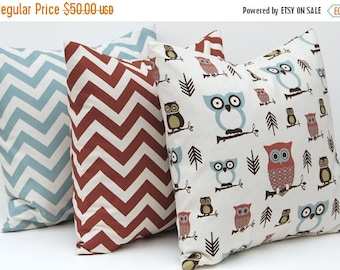 SALE Decorative Throw Pillow Covers Owl, Greek Key and Chevron Pillow Covers 20 x 20 Inches Set of Three