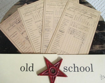 Vintage 1800's Report Cards - School Ephemera - Mixed Media, Altered Art, Scrapbooking - Whitehall, PA - 4 in Lot