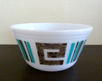 Vintage Federal Glass Mixing Bowl - Atomic Pattern with Turquoise Gold - Collectible Kitchen Ware
