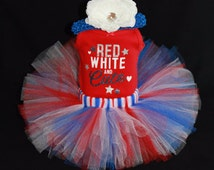 SALE July 4th Childrens Tutu Outfit - Red White and Cute - 4th of July Baby Tutu Set - Tutu Bodysuit Headband - JF1310