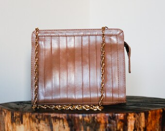 Simple Classic Tan Brown Leather Purse with Brass Gold Chain Strap.