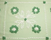 62 x 24 Inches - Green and White Hand Tufted Popcorn Flowers Vintage Chenille Bedspread Fabric Piece, 4 Blocks for Pillows or Runner