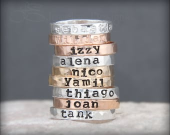 Hand Stamped Stacking NAME RING - kids name ring, gold, rose gold, posey, mother's ring, hand stamped stacking ring, stacking ring, stacked