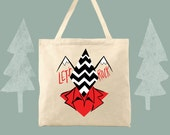 Let's Rock Black Lodge Twin Peaks Themed Canvas Tote