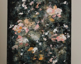 Abstract Painting Floral painting Flower painting  peony pink green  18x14 Swalla Studio