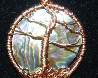 Copper and Paula Shell Tree of Life Pendant