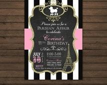 SALE Paris Birthday Invitation Printable File, DIY, Pink, Polka Dots, Eiffel Tower, Poodle, Chalkboard Invitation, Black and White