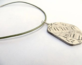Piano Polygon Necklace - hand carved clay and leather