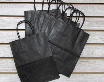 "8"" X 4"" X 10"" Black Kraft Bag Shopping Tote - 10 Pcs"