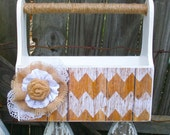 Rustic Wood Box with Tan Chevron Pattern and Burlap, Lace and Jute Accents, Home Decor, Wedding Decor