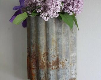 Wall sconce metal repurposed wood hanging vase