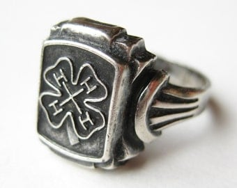 Vintage 40s Ring Art Deco Sterling Silver 4H 4-H Fair Ring