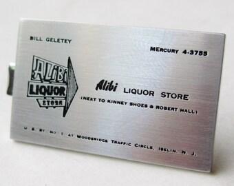 Vintage Alibi Liquor Store Iselin New Jersey Advertising Promo Tie Clip Bar