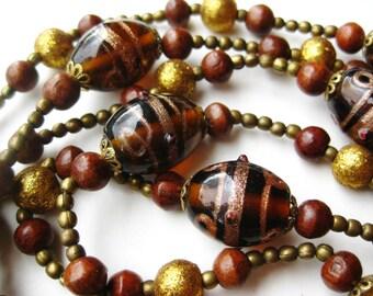 "Vintage 50s Gold Fleck Aventurine Italian Venetian Art Glass Murano Bead 58"" Long Necklace"
