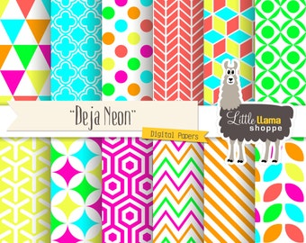 50% Off - Neon Digital Paper Pack, Bright Neon Backgrounds, Geometric Patterns, INSTANT DOWNLOAD, Commercial Use