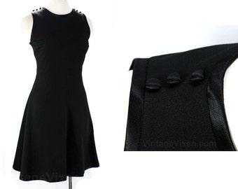 Size 12 Black Dress with Satin Button Details - 1960s Flirty Knit Dress - 60s Sleeveless - Flared Skirt - Deadstock - Bust 38 - 46169