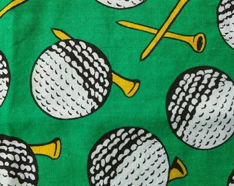 Golf Balls and Tees on Green Cotton Fabric 1 Yard X0466