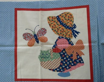 Sunbonnet Sue and Overall Sam Pillow or Quilt Block Fabric Panel 2 designs X0520
