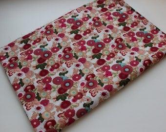 Cotton fabric Red dahlias
