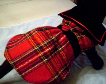 Sale!  50% Off----Red Plaid Dog Coat wirh Black Velvet Collar and Trim--Size Sm Only
