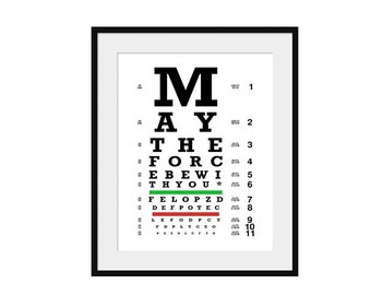 Eye Chart - Star Wars - Art Print - Wall Art-  Poster -  May The Force Be With You
