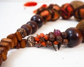 Orange Necklace Brown Necklace Wooden Pampkin Necklace Boho Style