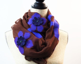 Felted Scarf, Brown Shawl, Purple Wool Shawl, Nuno Felt Scarf, Flower Shawl