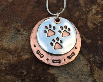 Three Paw Tripawd Pride Pet Parent Pendant in Sterling Silver & Copper